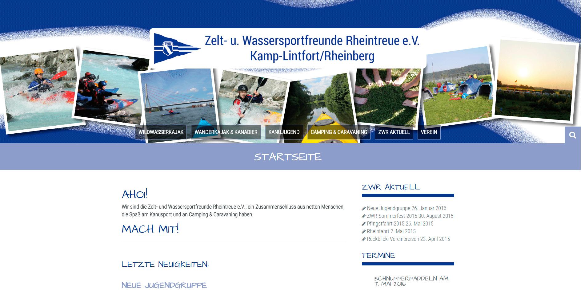 Webdesign für den Rheinberger Kajakverein ZWR mit vielen Fotos und Berichten aus dem Vereinsleben