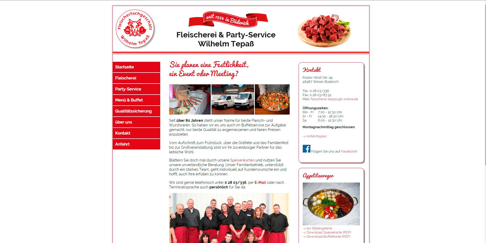Internetseite der Fleischerei Tepaß in Wesel-Büderich