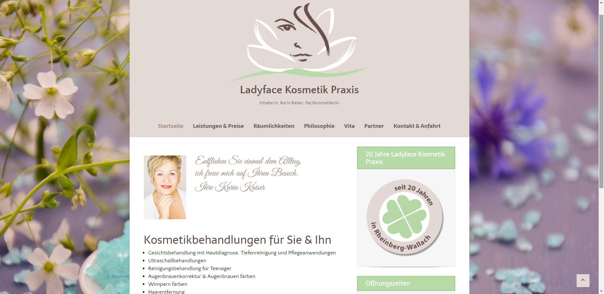 Internetseite für Ladyface Kosmetik Praxis