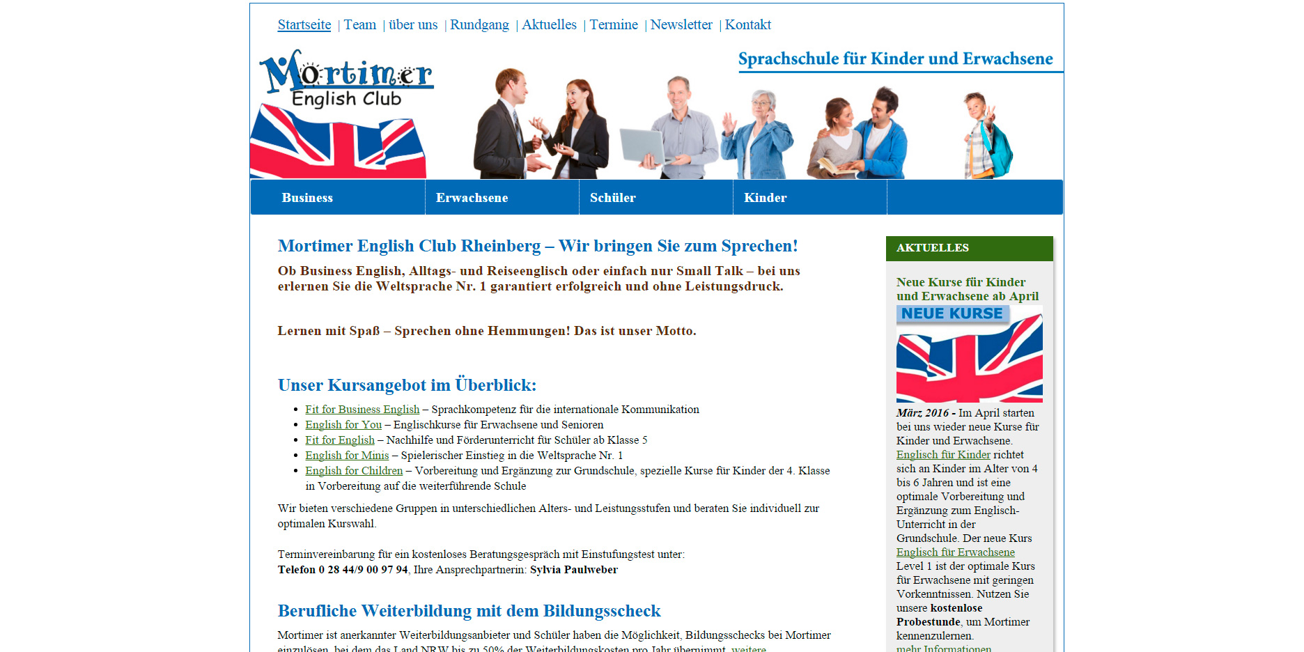 Internetseite für Mortimer English Club in Rheinberg