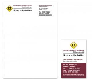 Briefbogen und Visitenkarte für Clostermann Elektrotechnik