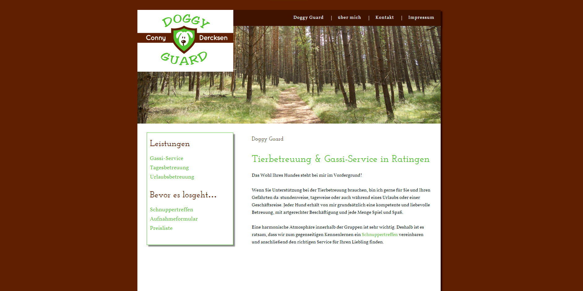 """Internetseite für die Hundebetreuung """"Doggyguard"""" von Conny Dercksen in Ratingen."""