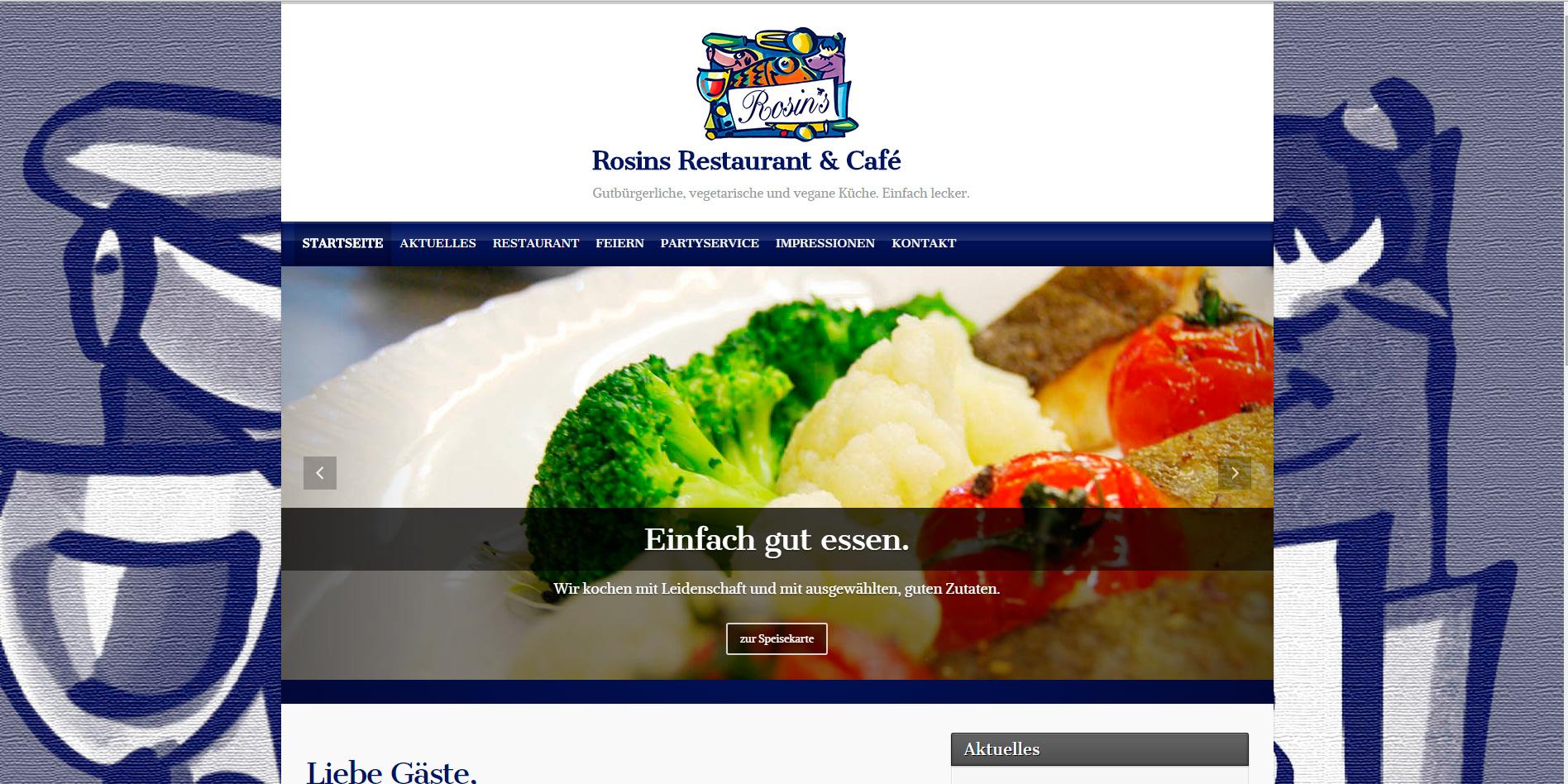 Internetseite für Rosins Restaurant & Café in Kamp-Lintfort