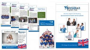 Kundenzeitschrift, Anzeige, Weihnachtskarte und Imagebroschüre für Mortimer English Club in Rheinberg